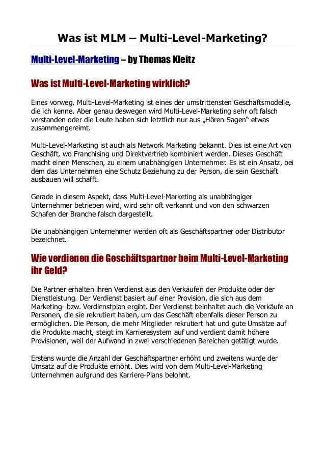 Was ist MLM – Multi-Level-Marketing?Multi-Level-Marketing – by Thomas KleitzWas ist Multi-Level-Marketing wirklich?Eines v...