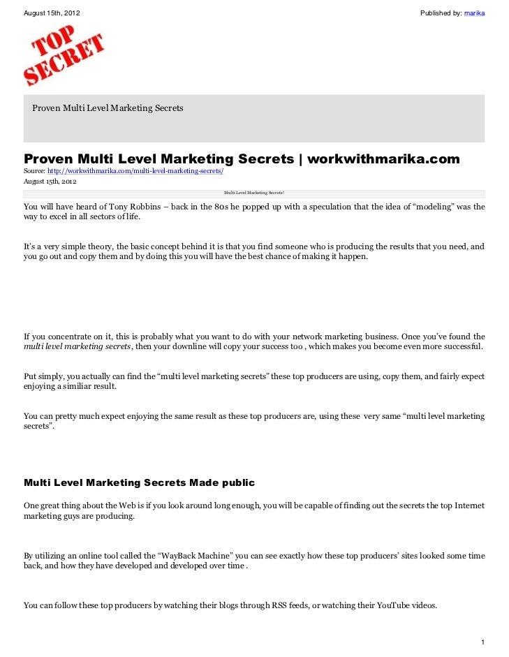 Proven Multi Level Marketing Secrets