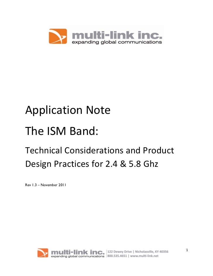 ApplicationNoteTheISMBand:TechnicalConsiderationsandProductDesignPracticesfor2.4&5.8GhzRev 1.3 – No...
