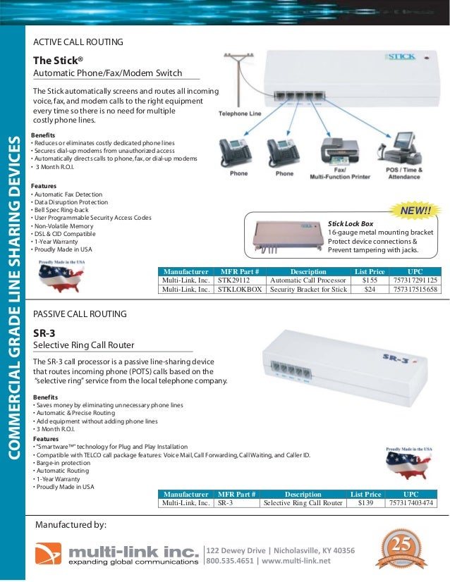 ACTIVE CALL ROUTING  The Stick® Automatic Phone/Fax/Modem Switch  COMMERCIAL GRADE LINE SHARING DEVICES  The Stick automat...