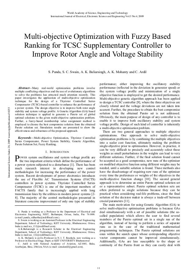 Multi objective-optimization-with-fuzzy-based-ranking-for-tcsc-supplementary-controller-to improve-rotor-angle-and-voltage-stability