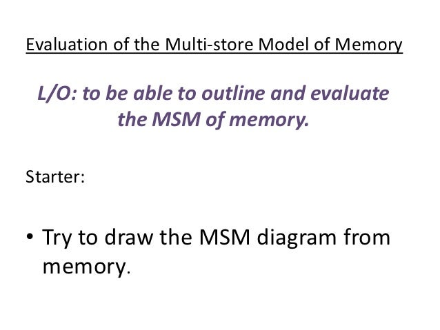 outline and evaluate the multi store model of memory essay More essay examples on memory rubric the working memory model is good and is an improvement over the multi-store model it demonstrates how the short term memory works because it explains.