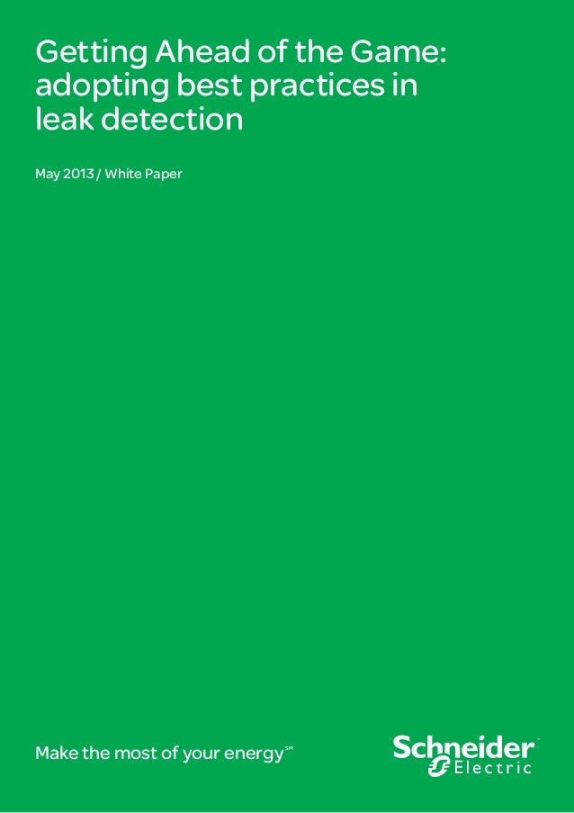 Getting Ahead of the Game: adopting best practices in leak detection May 2013 / White Paper Make the most of your energySM