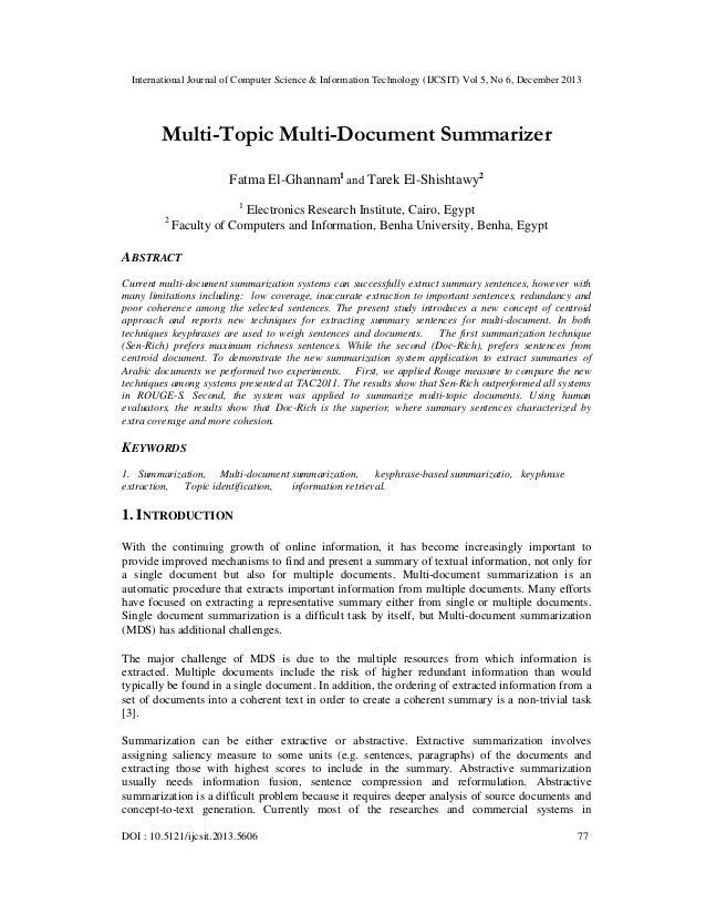 International Journal of Computer Science & Information Technology (IJCSIT) Vol 5, No 6, December 2013  Multi-Topic Multi-...