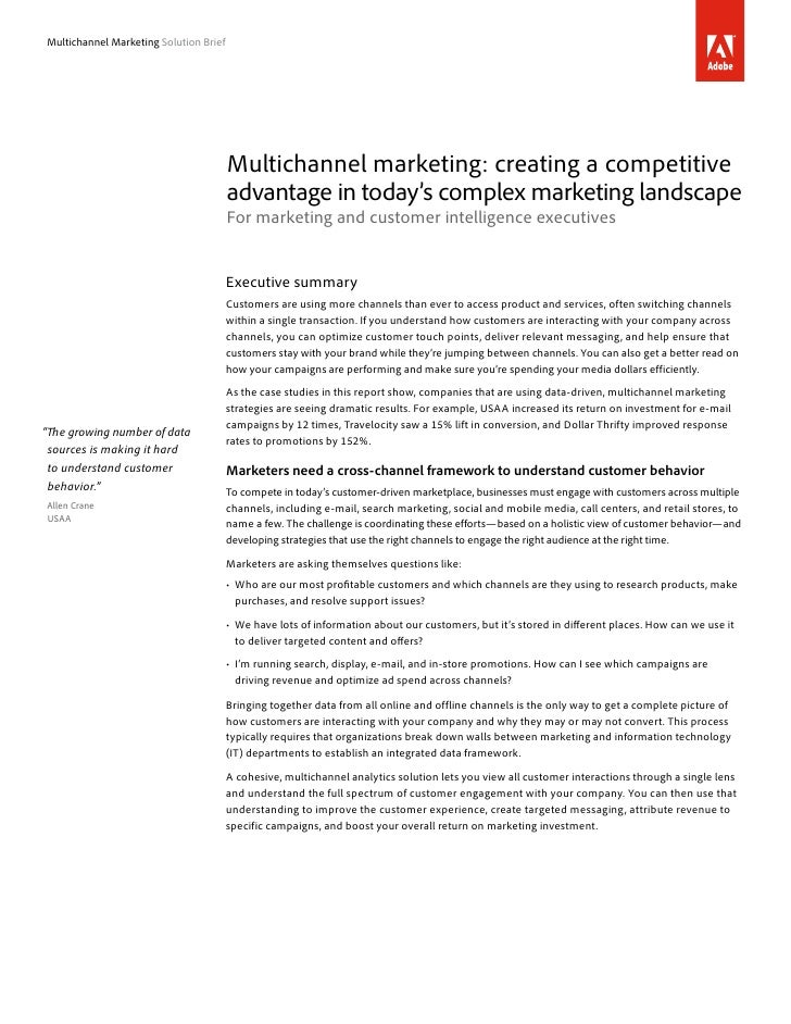 Multichannel Marketing Solution Brief                                        Multichannel marketing: creating a competitiv...