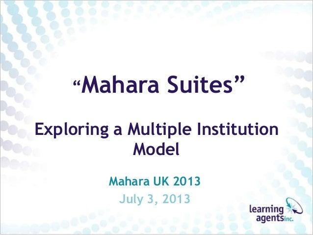 """Mahara Suites"" Exploring a Multiple Institution Model Mahara UK 2013 July 3, 2013"