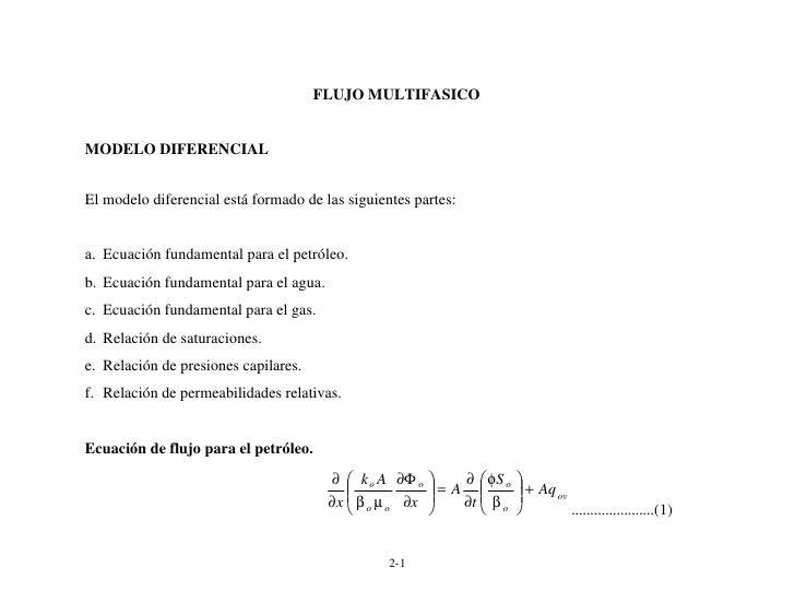 FLUJO MULTIFASICO   MODELO DIFERENCIAL   El modelo diferencial está formado de las siguientes partes:   a. Ecuación fundam...