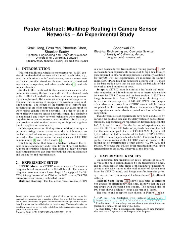 Poster Abstract: Multihop Routing in Camera Sensor                  Networks – An Experimental Study              Kirak Ho...
