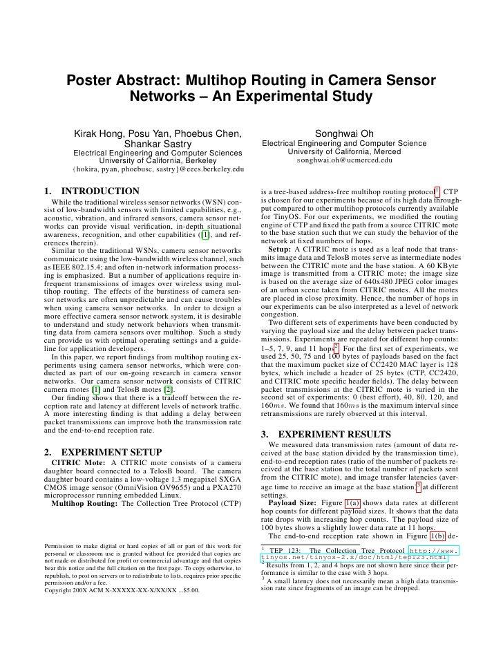 Multihop Routing In Camera Sensor Networks
