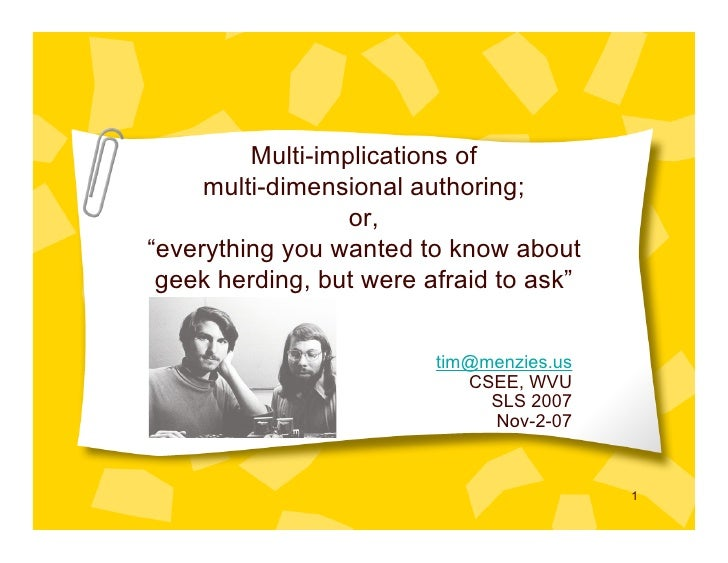 "Multi-implications of      multi-dimensional authoring;                   or, ""everything you wanted to know about  geek h..."