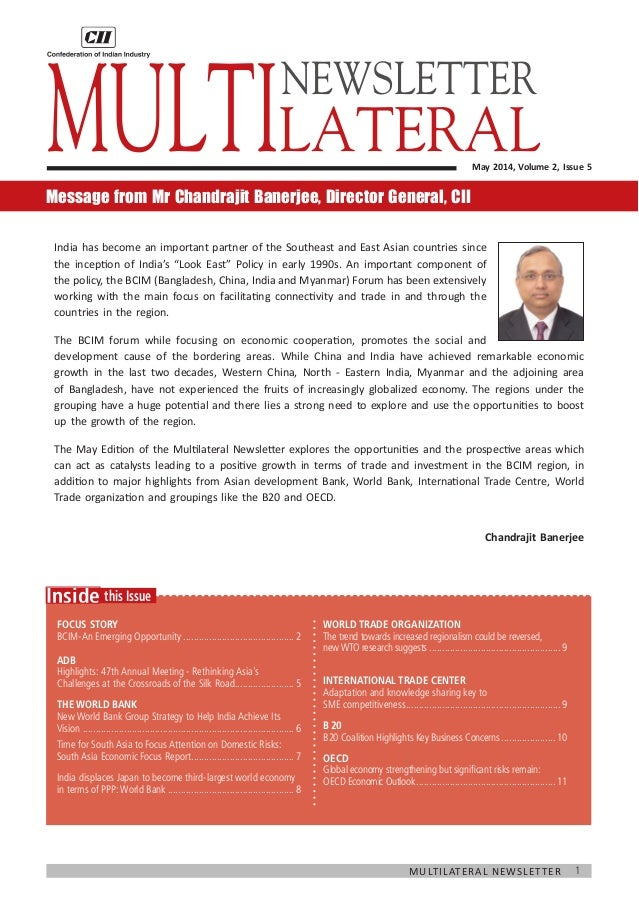 1Multilateral Newsletter  this IssueInside Focus Story BCIM-An Emerging Opportunity.........................................
