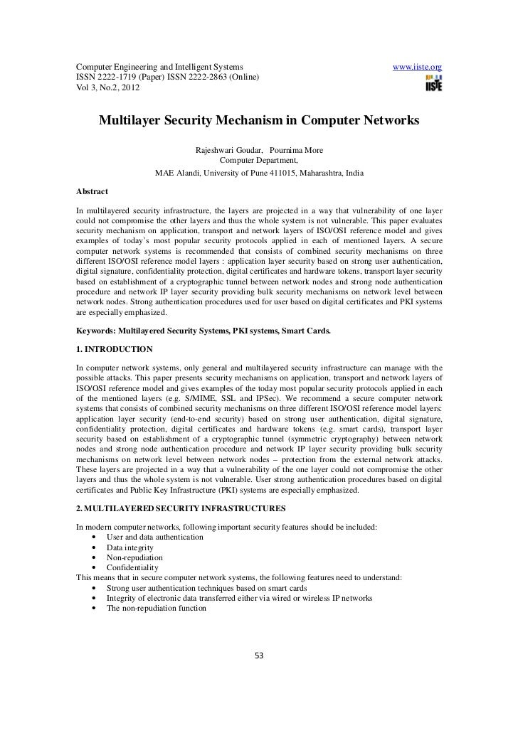 Multilayer security mechanism in computer networks