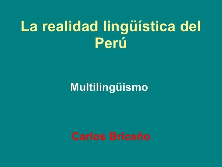 La realidad lingüística del Perú Multilingüismo Carlos Briceño