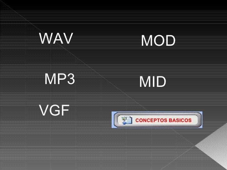 WAV VGF MOD MID MP3 CONCEPTOS BASICOS