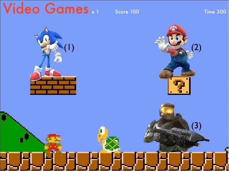 Video Games   x1   Score 100         Time 300            (1)                     (2)                                    (3)
