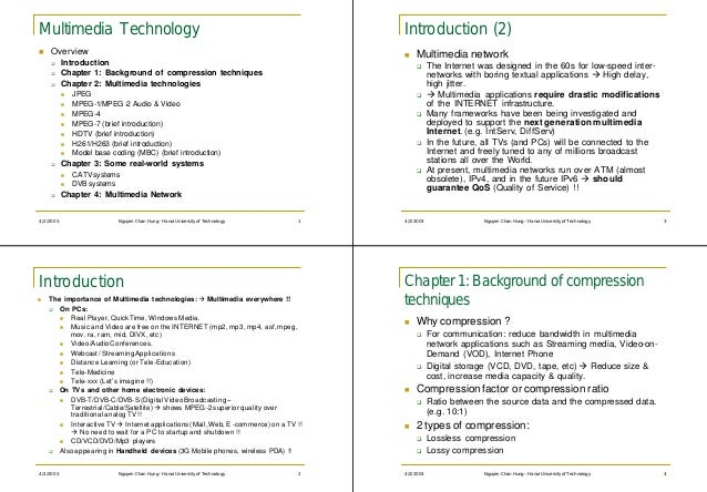 Multimedia Technology                                                                  Introduction (2)n   Overview       ...