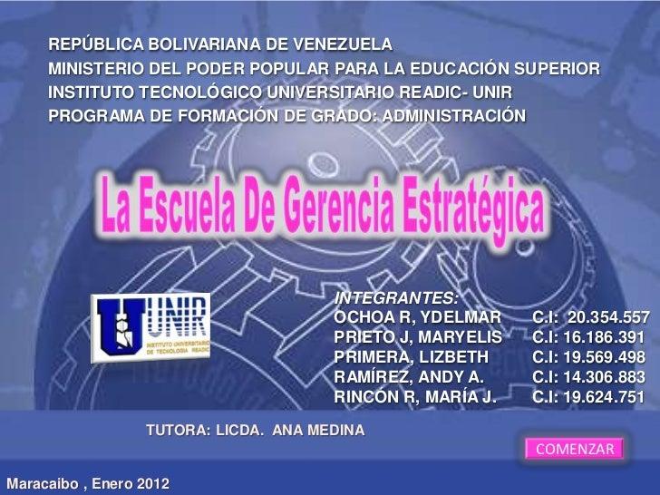 REPÚBLICA BOLIVARIANA DE VENEZUELA     MINISTERIO DEL PODER POPULAR PARA LA EDUCACIÓN SUPERIOR     INSTITUTO TECNOLÓGICO U...