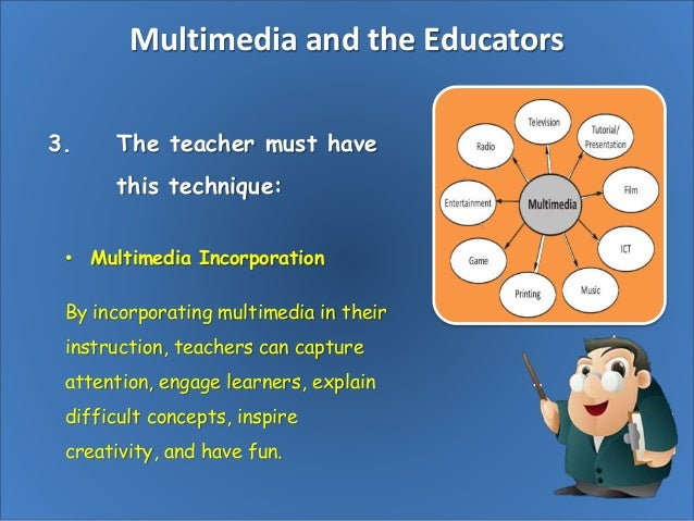 multimedia in education Benefits of using multimedia in education multimedia can stimulate more than one sense at a time, and in doing so, may be more attention-getting and attention-holding.