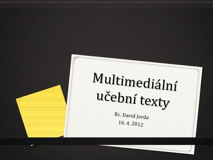 Multimedialní učební texty pro neslyšící uživatele