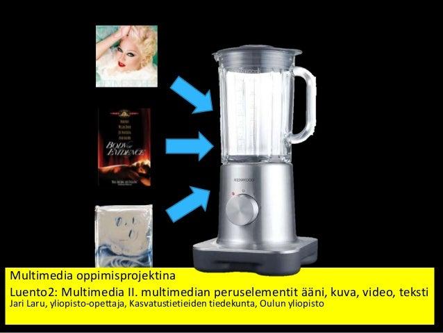 Multimedia II. multimedian peruselementit: ääni, kuva, video, teksti