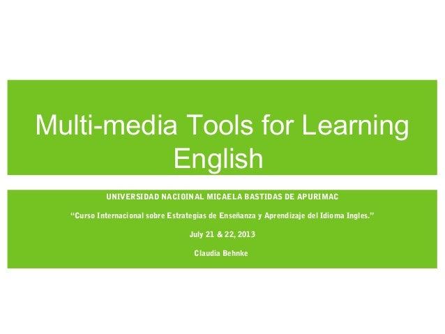 Curso Internacional UNAMBA: Multi-media tools for learning Eng.