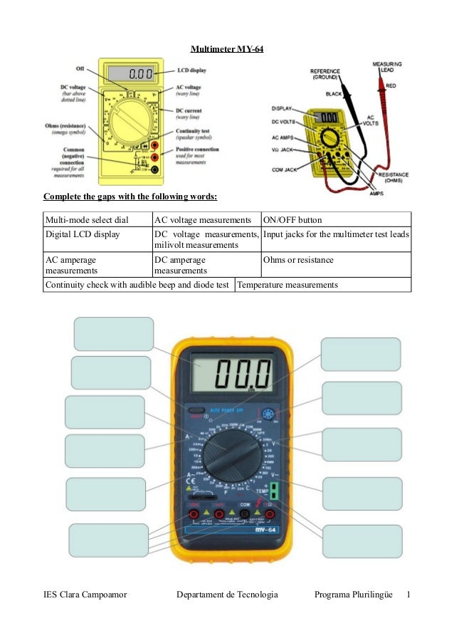 Multimeter MY-64 Complete the gaps with the following words: Multi-mode select dial AC voltage measurements ON/OFF button ...