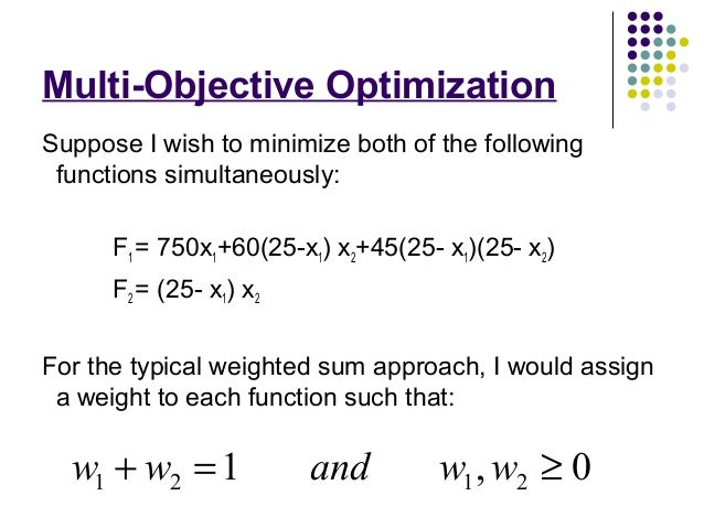 multi objective optimization thesis Multi-objective design optimization considering uncertainty in a multi-disciplinary ship show full item record abstract multi-disciplinary ship synthesis models and multi-objective optimization techniques are increasingly being used in this thesis focuses on adding a third objective.