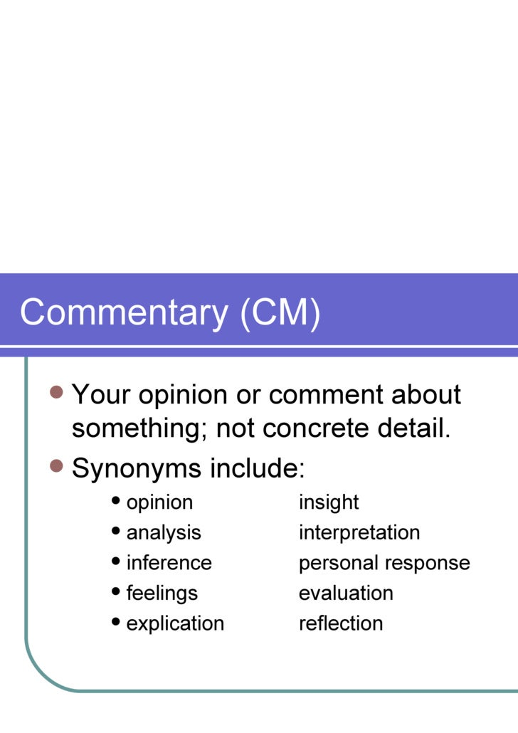 What Is Commentary In An Essay