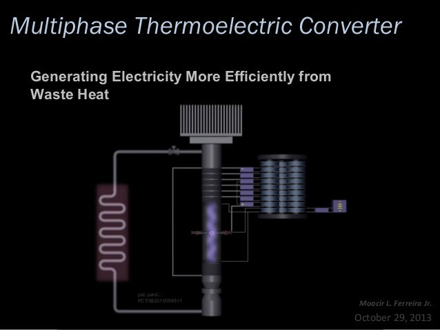 Multiphase Thermoelectric Converter Generating Electricity More Efficiently from Waste Heat  pat. pend.: PCT/IB2011/054511...