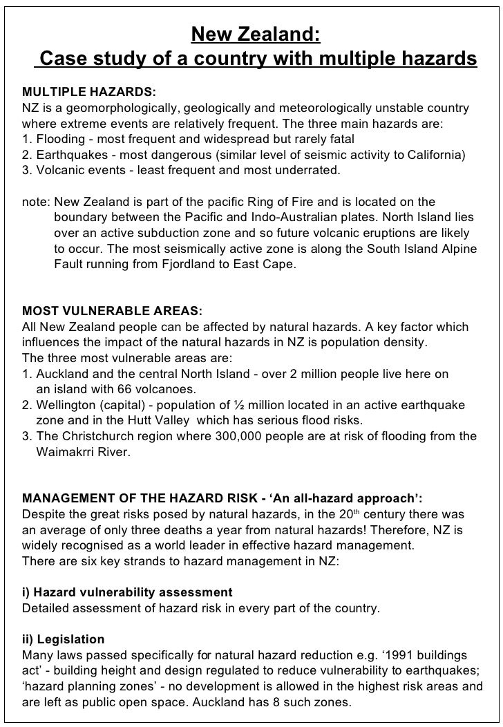 New Zealand: Case study of a country with multiple hazards MULTIPLE HAZARDS: NZ is a geomorphologically, geologically and ...