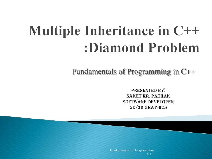 Multiple Inheritance in C++ :Diamond Problem<br />Fundamentals of Programming in C++<br />Presented By:<br />Saket KR. Pat...