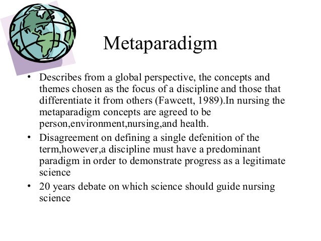 essay nursing metaparadigm Weakened the importance and necessity of caring in the nursing profession  however, the construct of  meta-paradigm of person, environment, health, and .