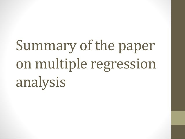 Statistical Regression Analysis: The Fundamentals