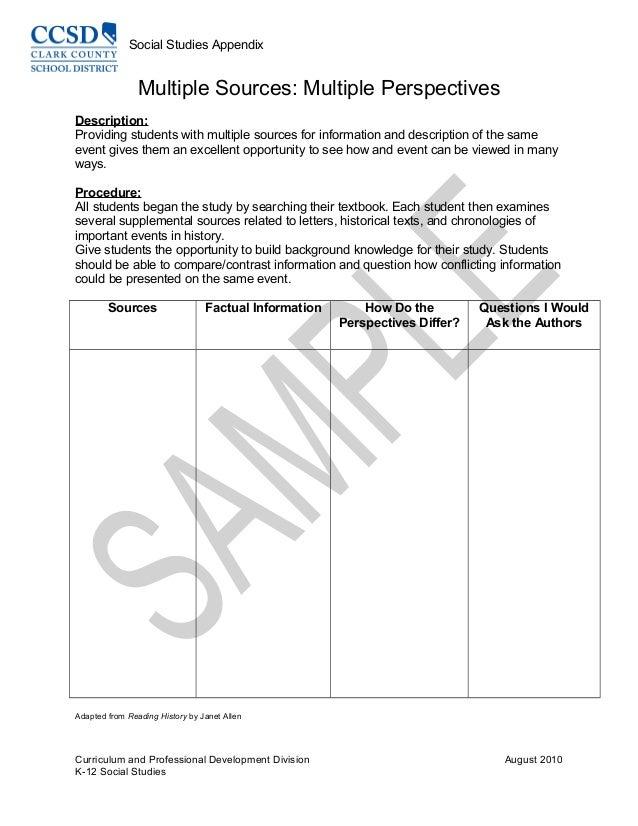 Social Studies Appendix Multiple Sources: Multiple Perspectives Description: Providing students with multiple sources for ...