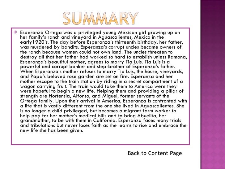 esperanza book report outline Sites with a short overview, synopsis, book report, or summary of esperanza rising by pam munoz ryan 1 916 votes esperanza rising is the story of esperanza ortega by pam munoz ryan esperanza lives with her family on el rancho de las rosas.