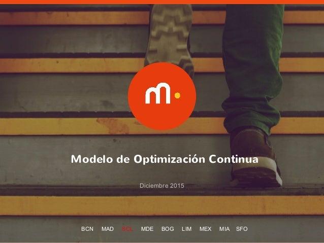 1 Modelo de Optimización Continua Diciembre 2015 BCN MAD SCL MDE BOG LIM MEX MIA SFO