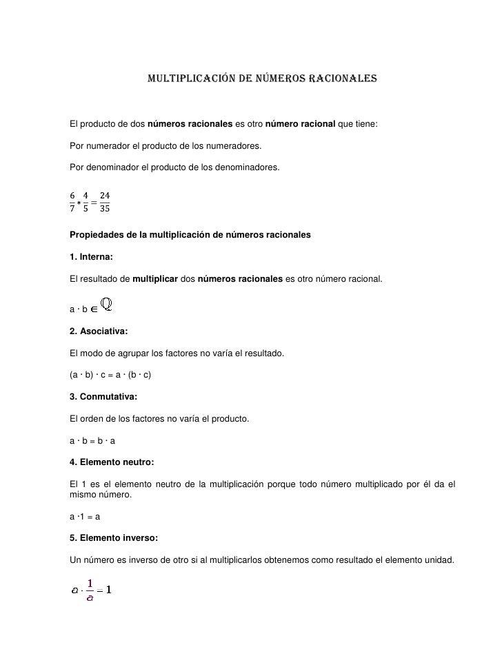 Multiplicación y División de números racionales
