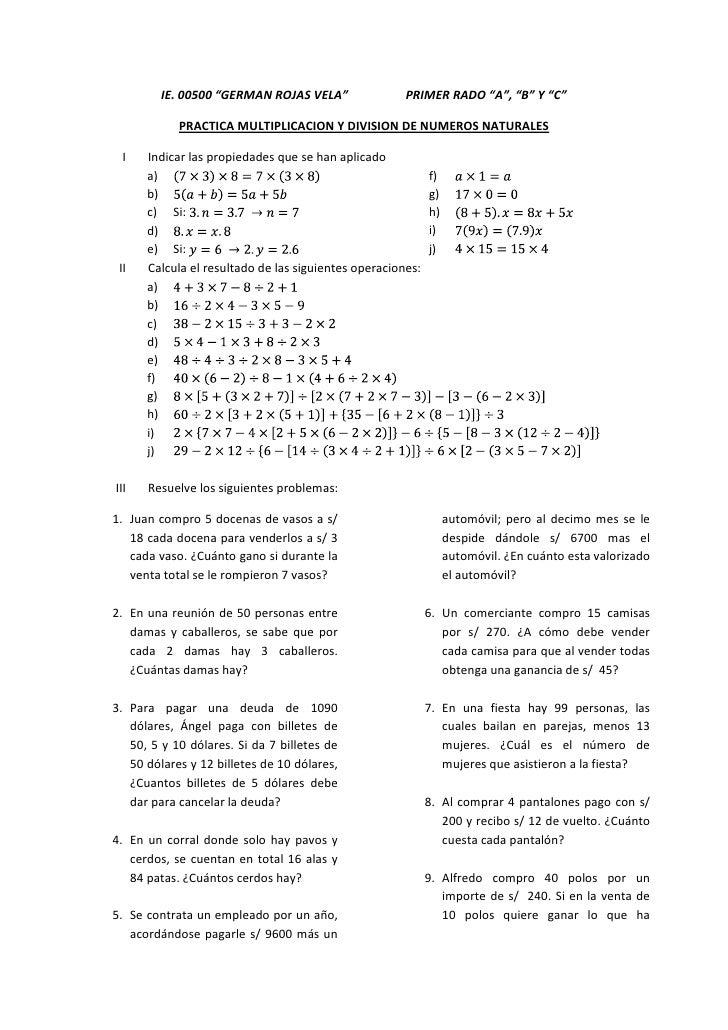 Multiplicacion y division en n