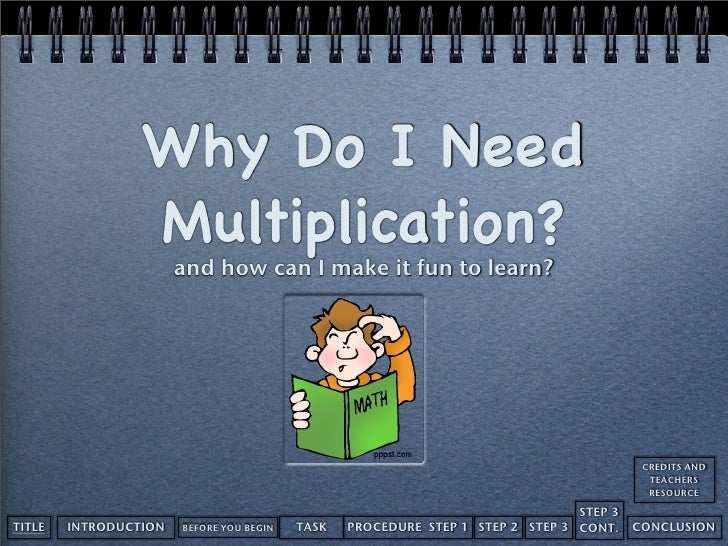 Why Do I Need                  Multiplication?                        and how can I make it fun to learn?                 ...