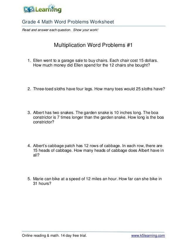 Multiplication word problems worksheets for grade 5