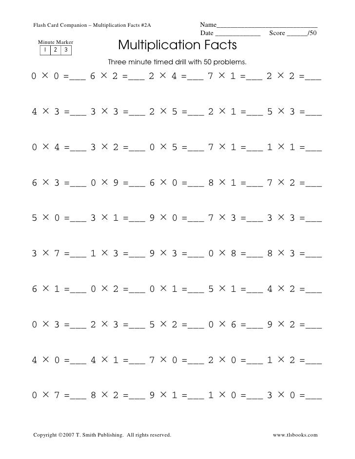 Multiplication Timed Tests Worksheets minute math worksheets – Multiplication Timed Test Worksheets