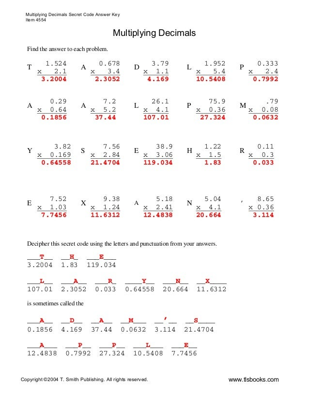 Dividing Decimals Worksheet With Answers Davezan – Multiply with Decimals Worksheet