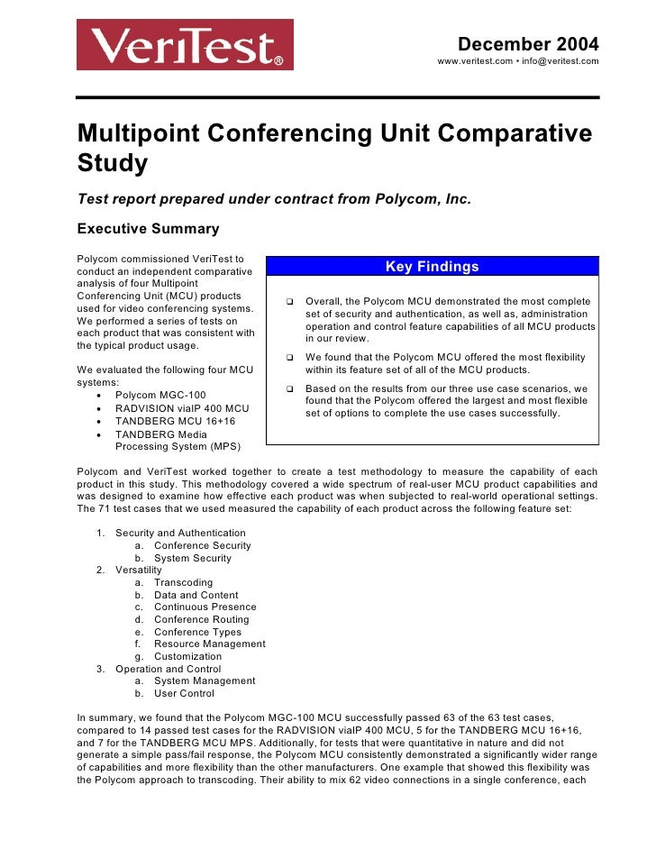 Multipoint Conferencing Unit Comparative Study
