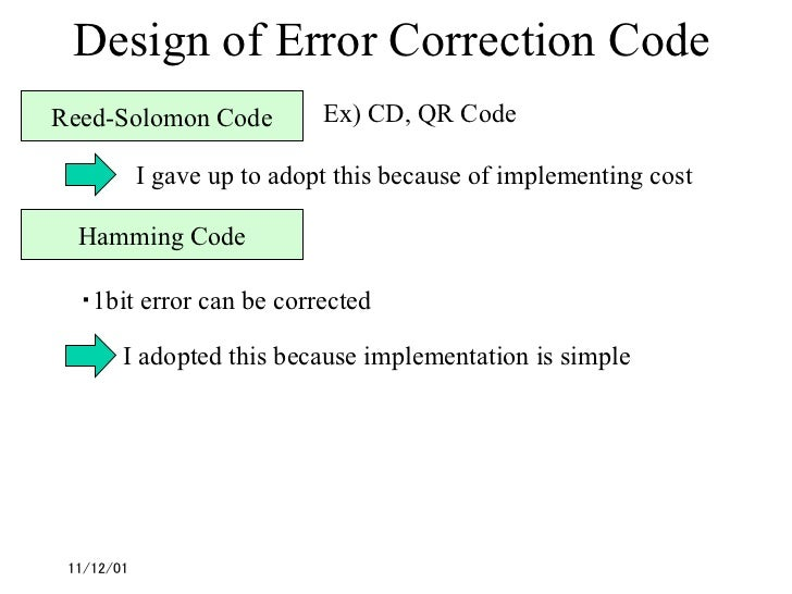 coding for error detection and correction information technology essay Goals and principles of software engineering 171  where error correction and adjustment  manifests the importance of error detection.