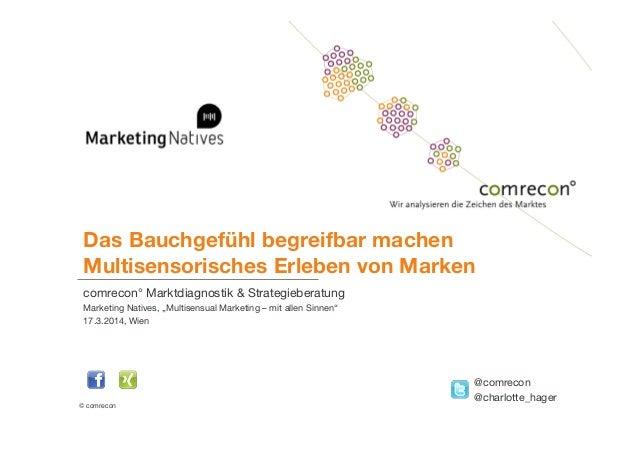 © comrecon! Das Bauchgefühl begreifbar machen Multisensorisches Erleben von Marken comrecon° Marktdiagnostik & Strategieb...