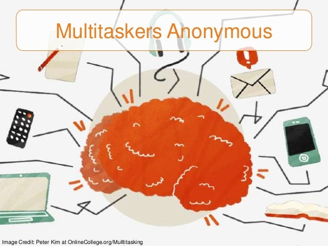 Multitaskers Anonymous  Image Credit: Peter Kim at OnlineCollege.org/Mulltitasking