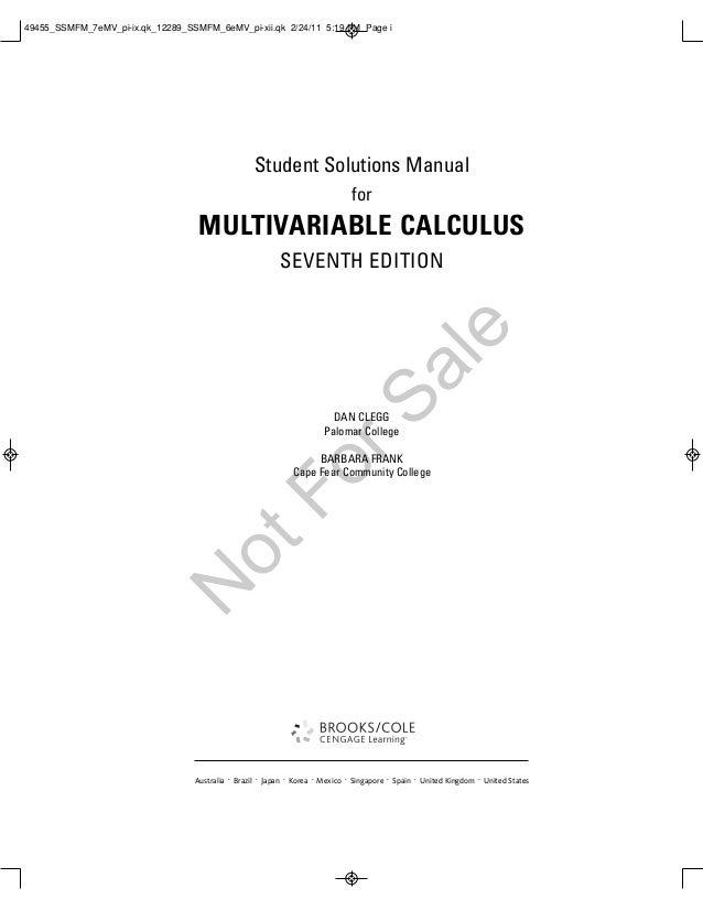 Multi variable solution manual
