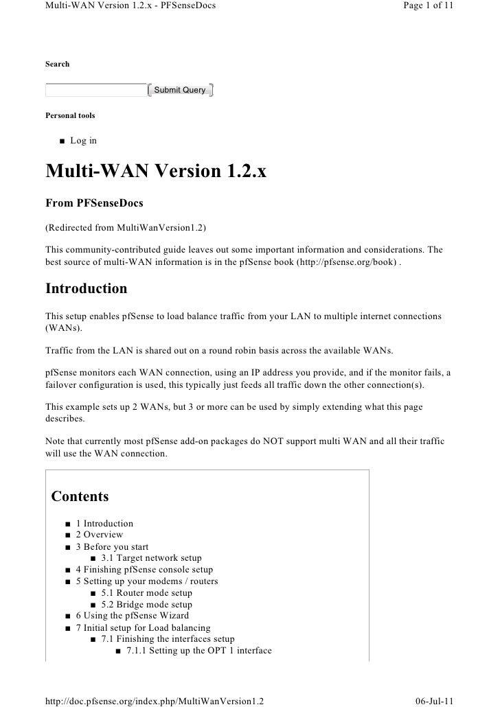 Multi-WAN Version 1.2.x - PFSenseDocs                                                  Page 1 of 11Search                 ...
