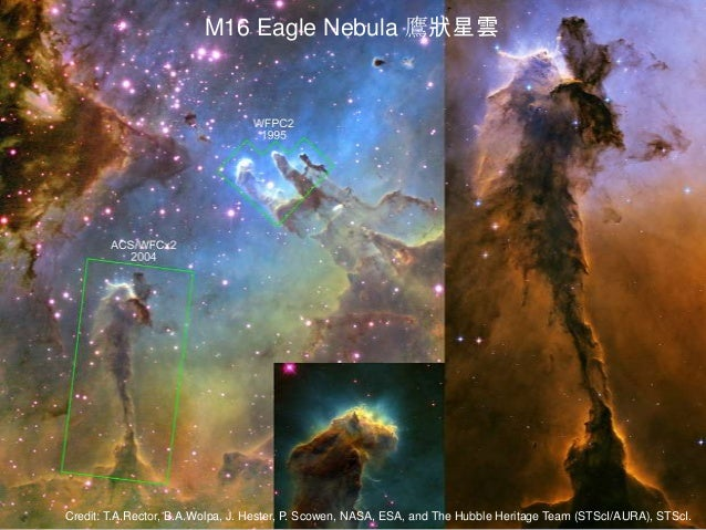 Credit: T.A.Rector, B.A.Wolpa, J. Hester, P. Scowen, NASA, ESA, and The Hubble Heritage Team (STScI/AURA), STScI. M16 Eagl...