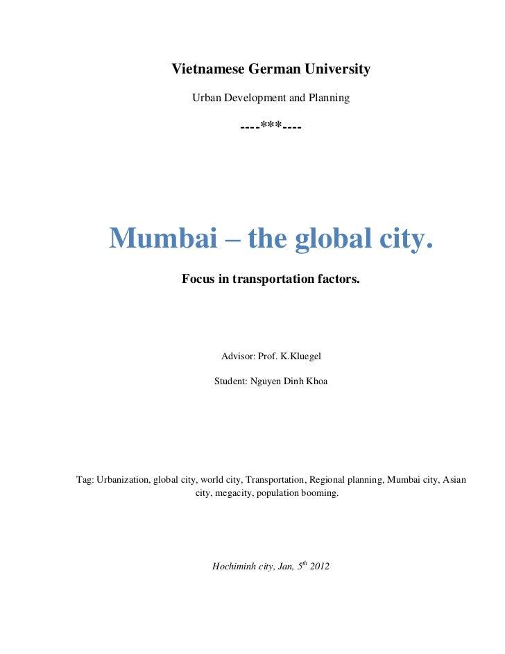 Vietnamese German University                            Urban Development and Planning                                    ...